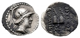 Kings of Bactria. Eukratides I Megas. Obol. 170-145 a.C. (Hgc-12, 139). (Bopearachchi-9C). Anv.: Bust on the right, with headband, draping and helmet ...
