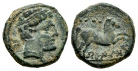 Belikiom. Cuadrante. 120-20 a.C. Belchite (Zaragoza). (Abh-243). (Acip-1436). Anv.: Head with ribbon and no beard on the right, behind it, Iberian let...