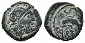 Carteia. Half unit. 80-20 a.C. San Roque (Cadiz). (Abh-639). Anv.: Jupiter's head to the right. Rev.: Dolphin to the left, above S, below CARTEIA. Ae....