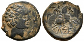 Kelse. Unit. 120-50 a.C. Velilla del Ebro (Zaragoza). (Abh-771). (Acip-1483). Anv.: Male head on the right flanked by three dolphins. Rev.: Horseman w...