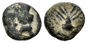 Ebusus. 200-100 a.C. Ibiza. (Abh-945). Anv.: Bes with skirt holding hammer. Rev.: Open palm. Ae. 1,60 g. Very rare. Almost VF. Est...150,00. /// SPANI...