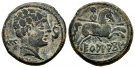 Ekualakos. Unit. 120 -20 a.C. Area of Soria-Guadalajara. (Abh-969). (Acip-1848). Anv.: Male head to right, dolphin, behind Iberian letter E. Rev.: Hor...