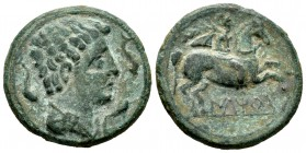 Iltirta. Unit. 200-20 a.C. Lleida (Cataluña). (Abh-1465). (Acip-1261). Anv.: Male head to right flanked by three dolphins. Rev.: Horseman to the right...