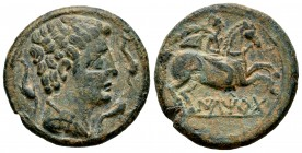 Iltirta. Unit. 220-200 a.C. Lleida (Cataluña). (Abh-1465). (Acip-1261). Anv.: Male head to right, flanked by three dolphins. Rev.: Horseman to the rig...