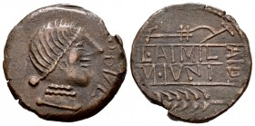 Obulco. Unit. 220-20 a.C. Porcuna (Jaén). (Abh-1807). (Acip-2222). (C-44). Rev.: L•AIMIL M•IVNI in two lines; AID to right, plough above, grain ear be...