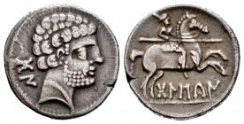 Bolskan. Denarius. 180-20 a.C. Huesca. (Abh-1911). (Acip-1417). (C-2). Anv.: ¿Crescent behind?. Rev.: Warrior on horse galloping to right, holding spe...