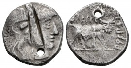 Arse-Saguntum. Drachm. 300-200 a.C. Sagunto (Valencia). (Abh-2040). (Acip-1938). Anv.: Galley head to the right . Rev.: Androcephalous bull right abov...