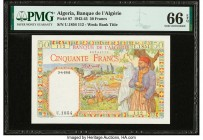 Algeria Banque de l'Algerie 50 Francs 3.4.1945 Pick 87 PMG Gem Uncirculated 66 EPQ.   HID09801242017  © 2020 Heritage Auctions | All Rights Reserved