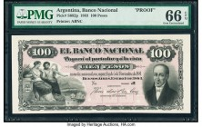 Argentina Banco Nacional 100 Pesos 1.1.1883 Pick S682p Proof PMG Gem Uncirculated 66 EPQ. Four POCs.  HID09801242017  © 2020 Heritage Auctions | All R...