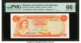 Bahamas Bahamas Government 5 Dollars 1965 Pick 21a PMG Gem Uncirculated 66 EPQ.   HID09801242017  © 2020 Heritage Auctions | All Rights Reserved