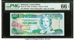 Bahamas Central Bank 10 Dollars 1996 Pick 59 PMG Gem Uncirculated 66 EPQ.   HID09801242017  © 2020 Heritage Auctions | All Rights Reserved