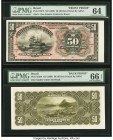 Brazil Thesouro Nacional 50 Mil Reis ND (1908) Picks 53fp; 53bp Front and Back Proofs PMG Choice Uncirculated 64; Gem Uncirculated 66 EPQ. Two POCs on...