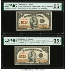 Canada Dominion of Canada 25 Cents 2.7.1923 DC-24c; DC-24d Two Examples PMG About Uncirculated 55 EPQ; Choice Very Fine 35 EPQ.   HID09801242017  © 20...
