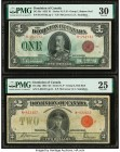 Canada Dominion of Canada 1; 2 Dollars 2.7.1923; 23.6.1923 DC-25e; DC-26g Two Examples PMG Very Fine 30; Very Fine 25.   HID09801242017  © 2020 Herita...