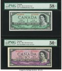 "Canada Bank of Canada $1; 10 1954 BC-29b; BC-32a ""Devil's Face"" Two Examples PMG Choice About Unc 58 EPQ; About Uncirculated 50 EPQ.   HID09801242017 ..."