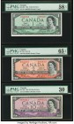 "Canada Bank of Canada $1; 2; 10 1954 BC-29b; BC-38a; BC-32b Three Examples Including two ""Devils Face"" Varieties PMG Choice About Unc 58 EPQ; Gem Unci..."