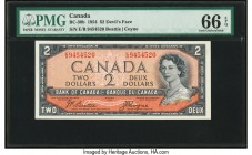 "Canada Bank of Canada $2 1954 BC-30b ""Devil's Face"" PMG Gem Uncirculated 66 EPQ.   HID09801242017  © 2020 Heritage Auctions 