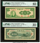 China Central Bank of China 400; 2000 Yuan 1944; 1945 Pick 263; 299 Two Examples PMG Gem Uncirculated 65 EPQ; Choice Very Fine 35 EPQ.   HID0980124201...