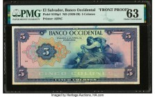 El Salvador Banco Occidental 5 Colones ND (1926-29) Pick S195p1 Front Proof PMG Choice Uncirculated 63. Previously mounted.  HID09801242017  © 2020 He...