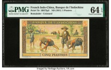 French Indochina Banque de l'Indo-Chine 5 Piastres ND (1951) Pick 75r Remainder PMG Choice Uncirculated 64 EPQ.   HID09801242017  © 2020 Heritage Auct...