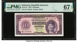 Indonesia Republik Indonesia 10 Rupiah 1.1.1950 Pick 37 PMG Superb Gem Unc 67 EPQ.   HID09801242017  © 2020 Heritage Auctions | All Rights Reserved