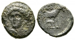 Cyprus, Curium, Uncertain King (Eva?), c. 350 BC, Æ, 15mm. Head of Apollo three-quarter facing left / Horse standing right, below foal suckling, above...