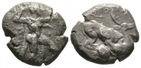 Cyprus, Kition, Baalmelek II (c. 425-400 BC), Stater, 10.61g, 20mm. Herakles in fighting stance right, holding club and bow, lion skin draped from nec...