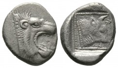 Cyprus, Marium,Pilagoras (?), c.4th Century BC, Tetrobol, 3.29g, 14mm. Head of roaring lion right / Bull head right, Cypriot letters in field BA-PI. c...