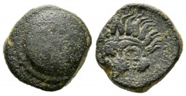 Cyprus, Marion, Stasioikos II (322-312 BC), Æ, 9.00g, 17mm. Shield with wreath / Lion's scalp facing. SNG Cop. -; BMC -. Very Fine and Rare