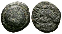Cyprus, Marion, Stasioikos II (322-312 BC), Æ, 4.02g, 15mm. Shield with wreath / Lion's scalp facing. SNG Cop. -; BMC -. Fine