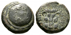 Cyprus, Marion, Stasioikos II (322-312 BC), Æ, 3.95g, 14mm. Shield containing Cypriot syllabics in wreath / Lion's scalp facing. SNG Cop. -; BMC -. Ab...