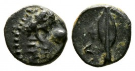 Cyprus, Marion, Stasioikos II (322-312 BC), Æ, 0.70g, 8mm. Lion head right / Spearhead. SNG Cop. -; BMC -. Good Very Fine and Rare