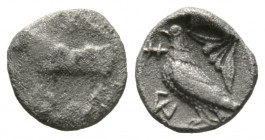 Cyprus, Paphos, Stasandros, c. 450-400 BC, Obol, 0.71g, 8mm. Bull standing left; [winged solar disc above] / Eagle standing left; olive spray to right...