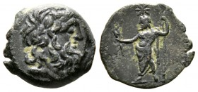Cyprus, Paphos, Roman Rule, mid 1st century BC, Æ, 3.25g, 15mm. Diademed head of Zeus-Ammon right / Zeus Salaminios(?) standing left, holding sceptre ...