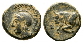 Cyprus, Salamis, Evagoras II (361-351 BC), Æ, 2.10g, 12mm. Head of Athena left wearing crested helmet / Forepart of bull left. SNG Cop. 60; BMC 75. Go...