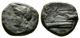 Cyprus, Salamis, temp. Nikokreon or Salaminion, c. 322-310 BC, Æ, 2.60g, 12mm. Helmeted and draped bust of Athena left / Prow left. Zapiti & Michaelid...