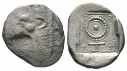Cyprus, Marium, Uncertain king, c. 480 BC, Tetrobol, 2.74g, 15mm. Head of roaring lion left / Cypriotic letter within dotted linear border with floral...
