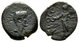 Augustus (27 BC-AD 14), Koinon of Cyprus, Æ, A. Plautius, proconsul, c. 21-20 BC, 4.56g, 16mm. Bare head right / Zeus Salaminios standing facing, hold...