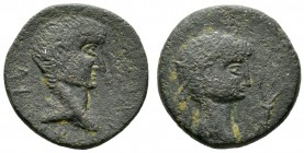 Tiberius with Divus Augustus (14-37), Koinon of Cyprus, Æ, 15.85g, 27mm. Bare head of Tiberius right / Radiate head of Divus Augustus right; star abov...