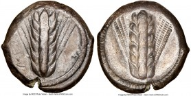 LUCANIA. Metapontum. Ca. 470-440 BC. AR stater (18mm, 12h). NGC VF, scratches, brushed. META, six-grained barley ear; dotted border on raised rim / In...
