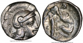CALABRIA. Tarentum. Ca. 380-280 BC. AR diobol (12mm, 1.13 gm, 9h). NGC Choice XF 4/5 - 4/5. Head of Athena right, wearing crested Attic helmet / Hercu...