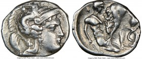 CALABRIA. Tarentum. Ca. 380-280 BC. AR diobol (12mm, 11h). NGC Choice VF. Head of Athena right, wearing crested Attic helmet decorated with figure of ...