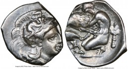 CALABRIA. Tarentum. Ca. 380-280 BC. AR diobol (13mm, 7h). NGC Choice VF. Head of Athena right, wearing crested Attic helmet decorated with figure of S...