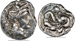 CALABRIA. Tarentum. Ca. 380-280 BC. AR diobol (12mm, 10h). NGC Choice VF. Head of Athena right, wearing crested Attic helmet decorated with figure of ...