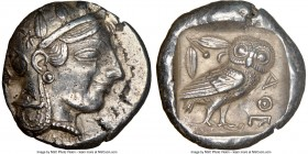 ATTICA. Athens. Ca. 465-455 BC. AR tetradrachm (25mm, 17.12 gm, 5h). NGC AU 4/5 - 4/5, flan flaws. Head of Athena right, wearing crested Attic helmet ...