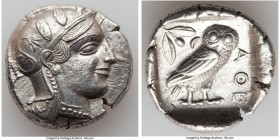 ATTICA. Athens. Ca. 455-440 BC. AR tetradrachm (26mm, 17.10 gm, 4h). AU, brushed. Early transitional issue. Head of Athena right, wearing crested Atti...
