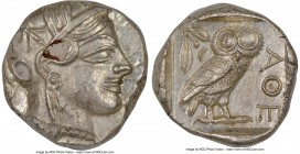 ATTICA. Athens. Ca. 440-404 BC. AR tetradrachm (24mm, 17.20 gm, 2h). NGC MS 3/5 - 4/5, flan flaw. Mid-mass coinage issue. Head of Athena right, wearin...