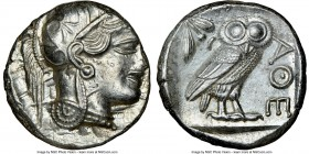 ATTICA. Athens. Ca. 440-404 BC. AR tetradrachm (24mm, 17.22 gm, 7h). NGC MS 3/5 - 4/5. Mid-mass coinage issue. Head of Athena right, wearing crested A...