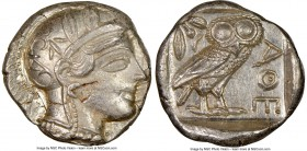 ATTICA. Athens. Ca. 440-404 BC. AR tetradrachm (24mm, 17.17 gm, 3h). NGC MS 4/5 - 3/5, edge cut. Mid-mass coinage issue. Head of Athena right, wearing...