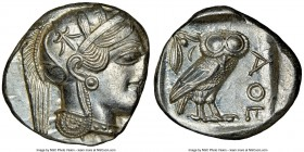 ATTICA. Athens. Ca. 440-404 BC. AR tetradrachm (26mm, 17.19 gm, 7h). NGC MS 2/5 - 4/5. Mid-mass coinage issue. Head of Athena right, wearing crested A...